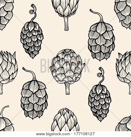 Seamless nature background with artichoke. Fresh organic food. Vegetables vintage pattern. Hand-drawn sketch of artichoke.