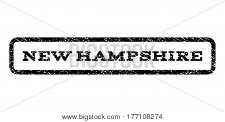 New Hampshire watermark stamp. Text caption inside rounded rectangle frame with grunge design style. Rubber seal stamp with unclean texture. Vector black ink imprint on a white background.
