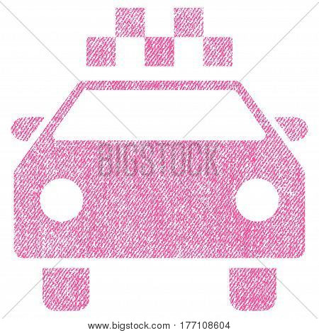 Taxi Automobile vector textured icon for overlay watermark stamps. Fabric pink vectorized texture. Symbol with dirty design. Rubber seal stamp with fiber textile structure.