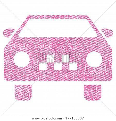 Taxi Car vector textured icon for overlay watermark stamps. Fabric pink vectorized texture. Symbol with unclean design. Rubber seal stamp with fiber textile structure.