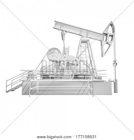 3d render: Oil Drilling Rig on White Background, Extraction of Oil