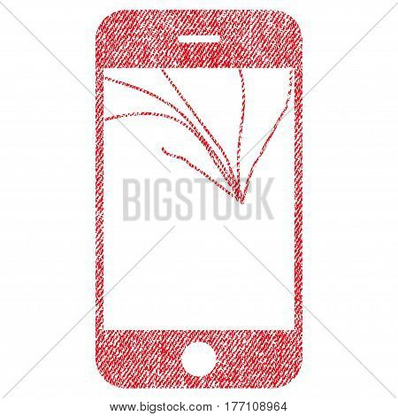 Broken Smartphone Screen vector textured icon for overlay watermark stamps. Fabric red vectorized texture. Symbol with scratched design. Rubber seal stamp with fiber textile structure.