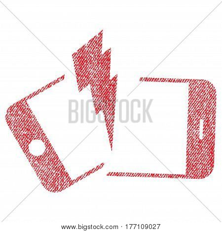 Broken Smartphone vector textured icon for overlay watermark stamps. Fabric red vectorized texture. Symbol with scratched design. Rubber seal stamp with fiber textile structure.
