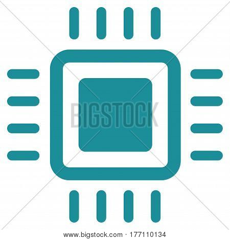 Processor vector icon. Flat soft blue symbol. Pictogram is isolated on a white background. Designed for web and software interfaces.