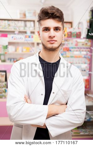Pharmacist man at work. Healhtcare and business