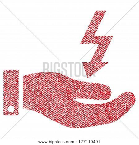 Electric Energy Service Hand vector textured icon for overlay watermark stamps. Fabric red vectorized texture. Symbol with dirty design. Rubber seal stamp with fiber textile structure.