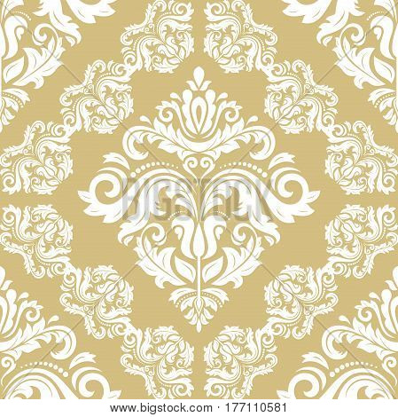 Classic seamless vector pattern. Traditional orient golden and white ornament. Classic vintage background