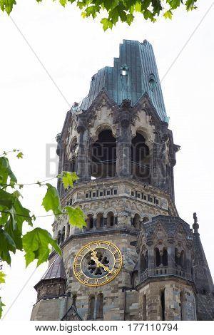 Kaiser Wilhelm Memorial Church Kaiser-Wilhelm-Gedachtniskirche in Berlin closeup. Famous landmark of western Berlin is nicknamed by Berliners the hollow tooth. BERLIN GERMANY