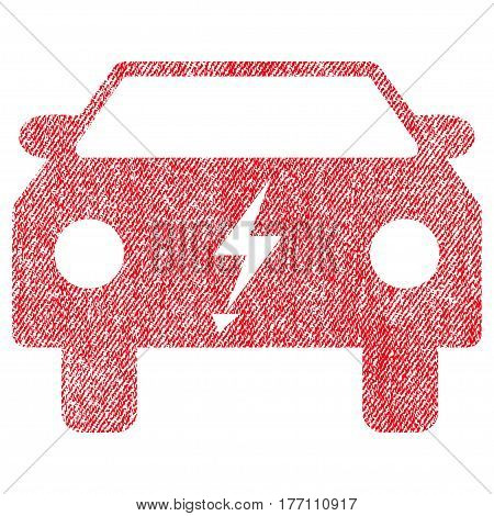 Electric Power Car vector textured icon for overlay watermark stamps. Fabric red vectorized texture. Symbol with scratched design. Rubber seal stamp with fiber textile structure.