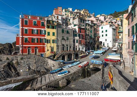 RIOMAGGIORE, ITALY - DECEMBER 2016: View of the architecture of Riomaggiore town. Riomaggiore is one of the most popular towns in Cinque Terre National park, Italy