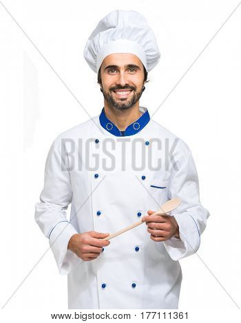 Smiling chef isolated on white