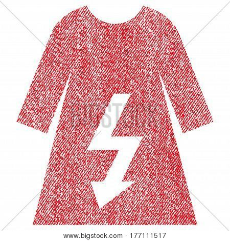 Electric Woman Dress vector textured icon for overlay watermark stamps. Fabric red vectorized texture. Symbol with dust design. Rubber seal stamp with fiber textile structure.