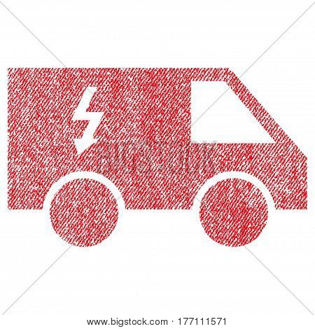 Electrical Car vector textured icon for overlay watermark stamps. Fabric red vectorized texture. Symbol with scratched design. Rubber seal stamp with fiber textile structure.