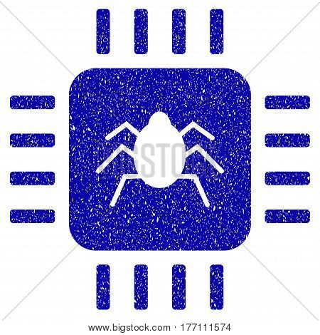 Grunge Hardware Bug rubber seal stamp watermark. Icon symbol with grunge design and scratched texture. Unclean vector blue sign.