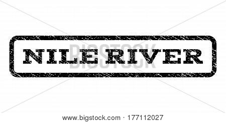 Nile River watermark stamp. Text caption inside rounded rectangle frame with grunge design style. Rubber seal stamp with unclean texture. Vector black ink imprint on a white background.