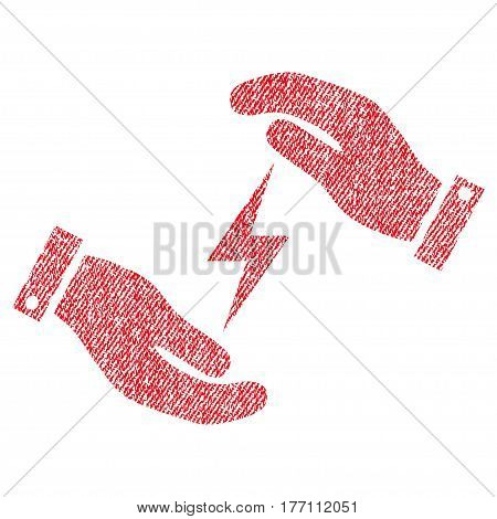 Electricity Supply Care Hands vector textured icon for overlay watermark stamps. Fabric red vectorized texture. Symbol with dust design. Rubber seal stamp with fiber textile structure.