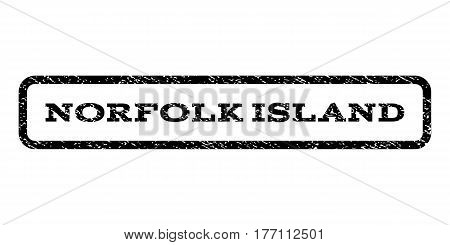 Norfolk Island watermark stamp. Text caption inside rounded rectangle frame with grunge design style. Rubber seal stamp with scratched texture. Vector black ink imprint on a white background.