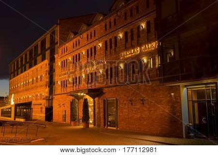 LIEPAJA LATVIA - March 2017: View of the Promenade Hotel in Liepaja at night Latvia.