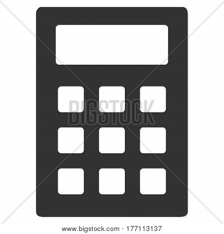 Calculator vector icon. Flat gray symbol. Pictogram is isolated on a white background. Designed for web and software interfaces.