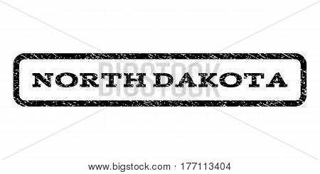 North Dakota watermark stamp. Text caption inside rounded rectangle frame with grunge design style. Rubber seal stamp with scratched texture. Vector black ink imprint on a white background.