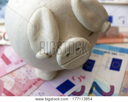 Clay piggy bank resting on Euro banknotes