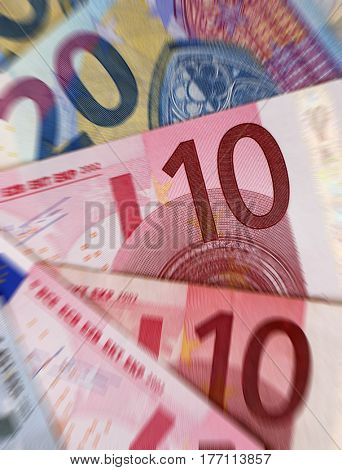 Mixed denomination Euro banknotes with zoom effect