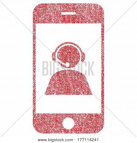 Smartphone Operator Contact Portrait vector textured icon for overlay watermark stamps. Fabric red vectorized texture. Symbol with scratched design. Rubber seal stamp with fiber textile structure.
