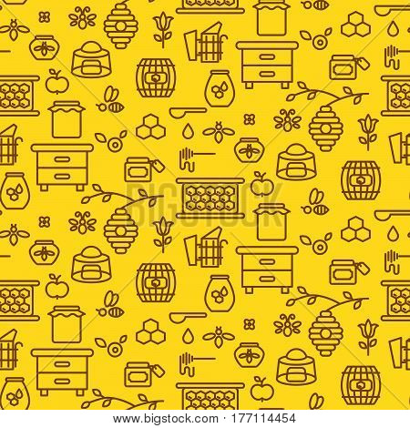 Honey outline icon seamless vector pattern. Line style monochrome beekeeping background.