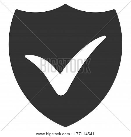 Shield Valid vector icon. Flat gray symbol. Pictogram is isolated on a white background. Designed for web and software interfaces.