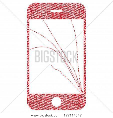 Smartphone Screen Cracks vector textured icon for overlay watermark stamps. Fabric red vectorized texture. Symbol with dirty design. Rubber seal stamp with fiber textile structure.