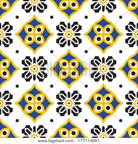 Black and yellow mediterranean seamless tile pattern. Geometric azulejos shapes vector texture for ceramic design, textile and wallpaper.