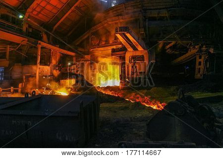 Melting of iron at a metallurgical plant in the city of Zaporozhye (Ukraine). January 2007
