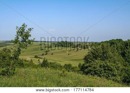 Reservoirs and field shelterbelts in the fields near the village of Novoselivka in the Novo-vodolaz'ke district Kharkiv region of Ukraine. 2007