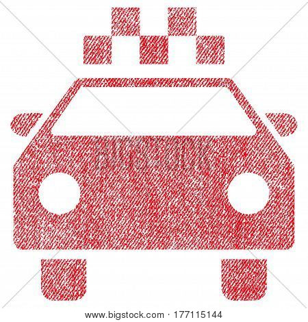 Taxi Automobile vector textured icon for overlay watermark stamps. Fabric red vectorized texture. Symbol with dust design. Rubber seal stamp with fiber textile structure.