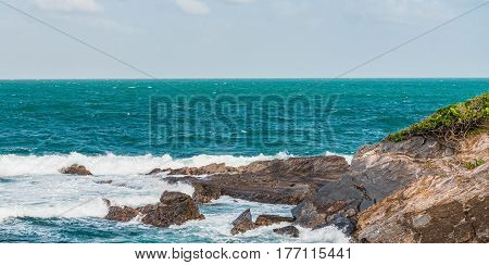 Toco Trinidad and Tobago West Indies rough sea beach cliff edge panorama