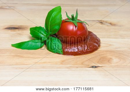 Ketchup cuncept tomato puree basil board ingredients italian sauce