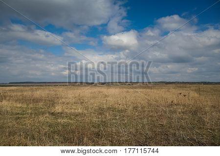 Fields on the shore of the Dniester river near the urban-type settlement of Stara ushytsya in Kamenetz-Podolsk district of Khmelnitsky region of Ukraine. March 2007