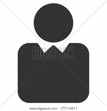 Person vector icon. Flat gray symbol. Pictogram is isolated on a white background. Designed for web and software interfaces.