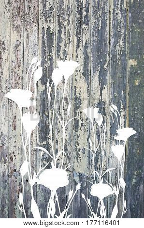 Abstract flowers and old painted wooden texture space for your text