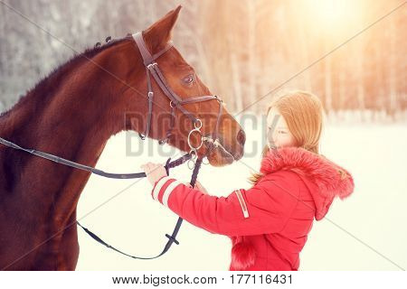 Young teenage girl spending time with her friend bay horse in winter park