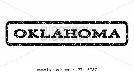Oklahoma watermark stamp. Text tag inside rounded rectangle frame with grunge design style. Rubber seal stamp with dirty texture. Vector black ink imprint on a white background.
