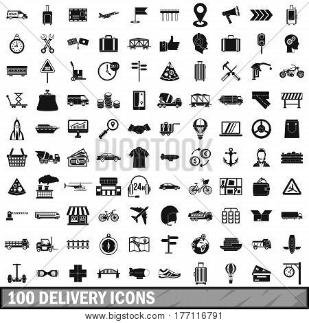 100 delivery icons set in simple style for any design vector illustration
