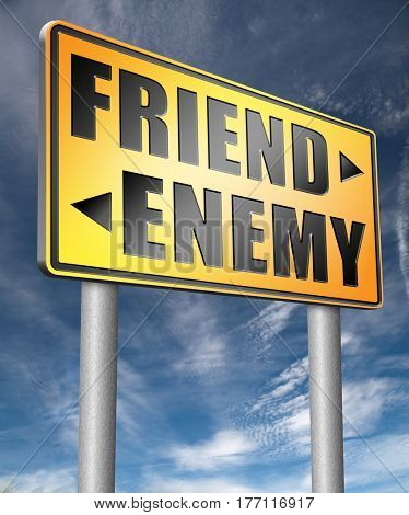friend enemy best friends or worst enemies friendship  3D, illustration