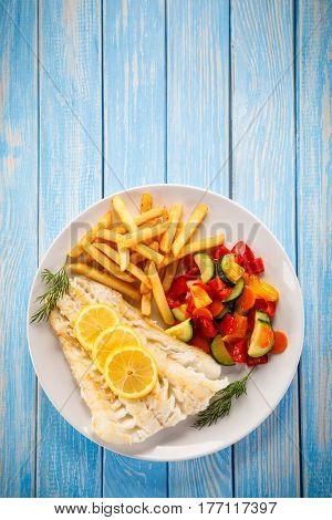 Fish dish - fried cod with french fries