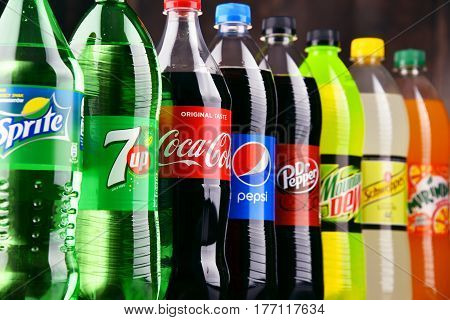 POZNAN POLAND - MAR 16 2017: Global soft drink market is dominated by brands of few multinational companies founded in North America. Among them are Pepsico Coca Cola and Dr. Pepper Snapple Group