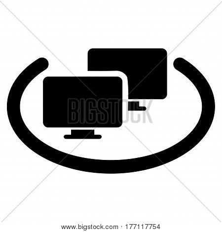 Intranet Computers vector icon. Flat black symbol. Pictogram is isolated on a white background. Designed for web and software interfaces.