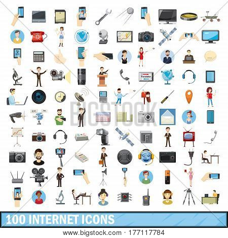 100 internet icons set in cartoon style for any design vector illustration