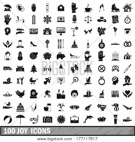 100 joy icons set in simple style for any design vector illustration