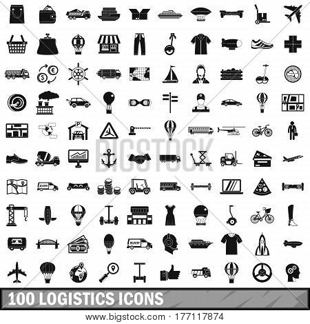 100 logistics icons set in simple style for any design vector illustration