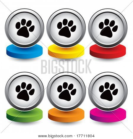 paw print colored discs